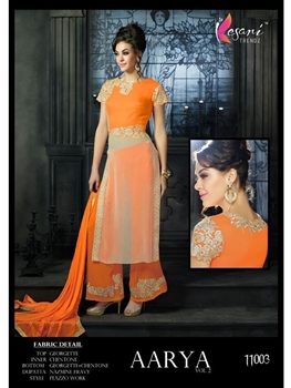 Picture of 11003 Orange Georgette Plazo Suit
