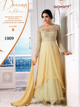 Picture of 1009Beige Pure Georgette Designer Suit