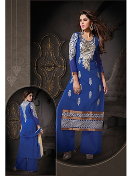 Picture of 9406Royal Blue Cotton Straight Suit