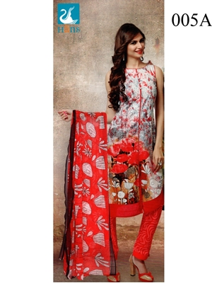 Picture of 005A white and Red Lawn Cotton Chudidar Suit