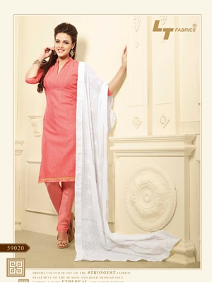 Picture of 59020LightPink and White Chanderi Chudidar Suit