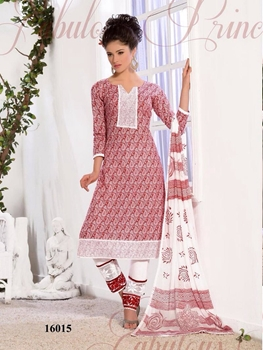 Picture of 16015Red and White Printed Cotton Straight Suit