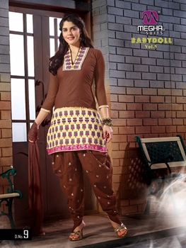 Picture of 09 Brown and Ivory Embroidered Cotton Patiyala Suit