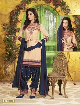 Picture of 5060 Beige and MidNightBlue Party Wear Pure Cotton Unstitched Patiyala Suit