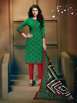 Picture of 1004Green and Red Daily Wear Heavy Banglori Printed Salwar Suit