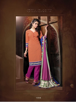 Picture of 1008Red and Purple Daily Wear Heavy Banglori Printed Salwar Suit