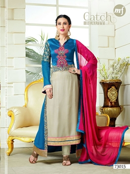 Picture of 73015DarkSkyBlue and Gray Party Wear Faux Georgette Desiger Suit