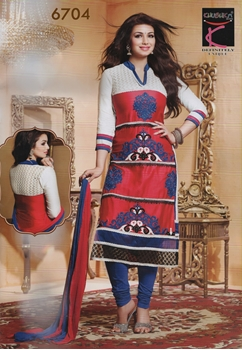 Picture of 6704Red and Blue Daily Wear Glace Cotton Straight Suit