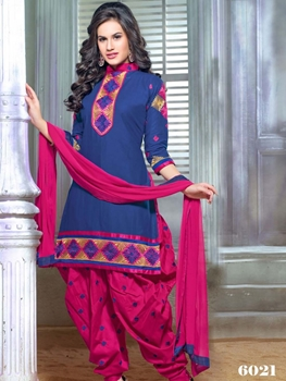 Picture of 6021 Blue and Magenta Party Wear Chanderi Cotton Patiyala Suit