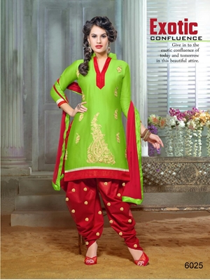 Picture of 6025YellowGreen and Red Party Wear Chanderi Cotton Patiyala Suit