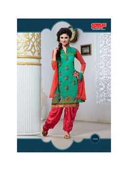 Picture of 1609SeaGreen and Red Party Wear Chanderi Cotton Patiyala Suit
