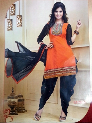 Picture of 2003Orange and Black Daily Wear Patiala Suit