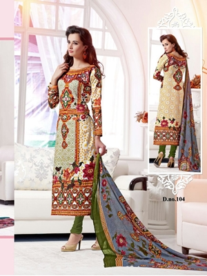 Picture of 104White and Multicolor Cotton Satin Party Wear/Daily Wear Straight Suit