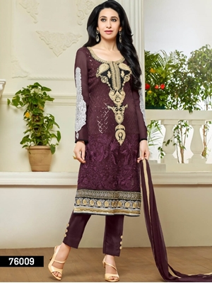 Picture of 76009 Maroon Faux Georgette Straight Suit