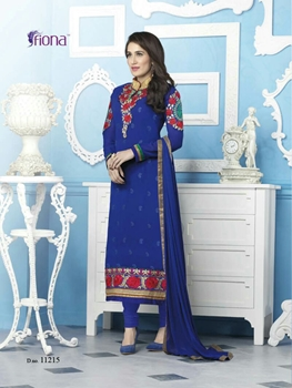 Picture of 11215NavyBlue Party Wear Foux Georgette Straight Suit