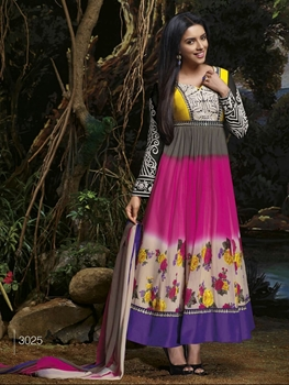 Picture of 3025 Magenta and Multicolor Party Wear Georgette Aanarkali Suit