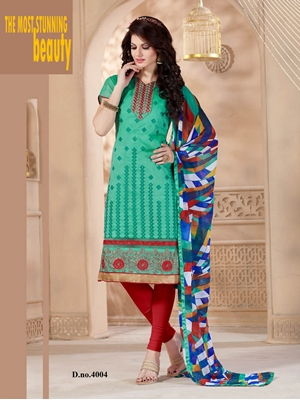 Picture of 4004SeaGreen and Red Daily Wear Chanderi Straigh Suit