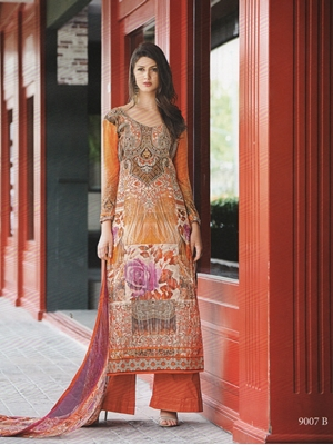 Picture of 9007B Orange and Multicolor Party Wear Satin Cotton Pakistani Style Indian Suit