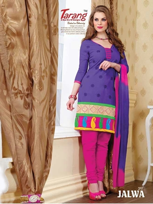 Picture of 312RoyalBlue and Magenta Daily Wear Embroidered Cotton Salwar Suit