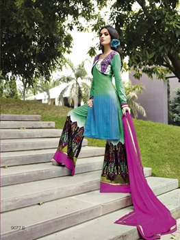 Picture of 9077B Sky Blue and Purple Cotton Satin Party Wear Plazo Suit