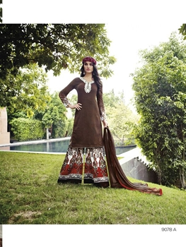 Picture of 9078A Brown and CornellRed Cotton Satin Party Wear Plazo Suit