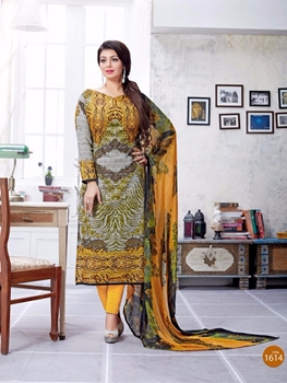 Picture of 1614Yellow and Multicolor Printed Lawn Cotton Party Wear Straight Suit
