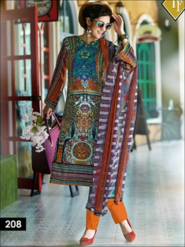 Picture of 208 Multicolor and Orange Pakistani Style Indian Suit