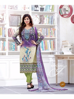 Picture of 1007Purple and Green Silk Crape Daily Wear Straight Suit