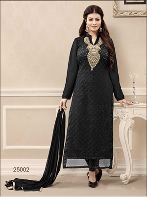 Picture of 25002Black and Golden Georgette Party Wear Straight Suit