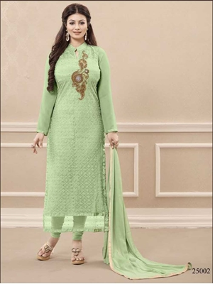 Picture of 25007DullGreen and Golden Georgette Party Wear Straight Suit