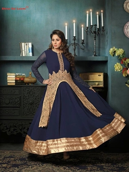 Picture of 17005 Designer Dark Blue Anakali Suit