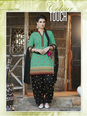Picture of 7559 Spring Green Designer Unstitched Patiala Suit