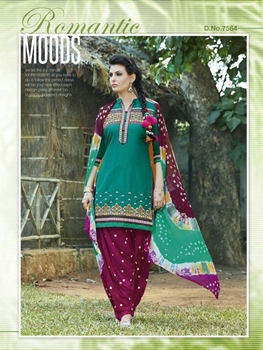Picture of 7564 Sea Green Designer Unstitched Patiala Suit