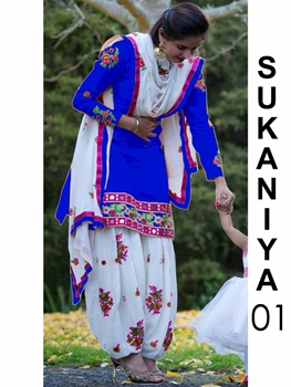 Picture of 01 Royal Blue Designer Patiala Replica Suit
