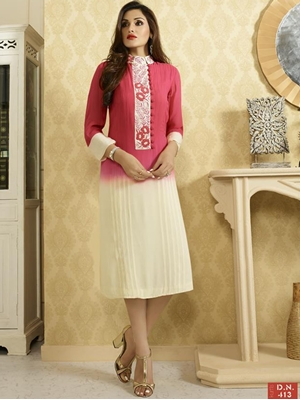 Picture of 413 Deep Pink Designer Fancy Exclusive Party Wear L Size Stitched Kurti
