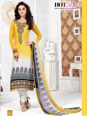 Picture of 9991Yellow Exclusive Fancy Designer Straight Suit