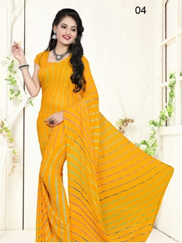 Picture of 04 Turmeric Yellow Exclusive Diamond Chiffon Lahariya Sarees