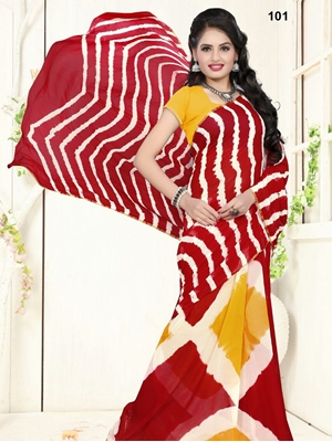 Picture of 101Red Exclusive Diamond Chiffon Laheriya Sarees