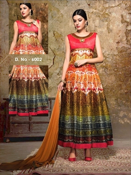Picture of 6002Orange and Multicolor Exclusive Designer Anarkali Suit