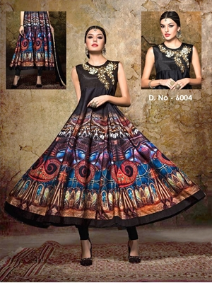 Picture of 6004Black and Multicolor Exclusive Designer Anarkali Suit