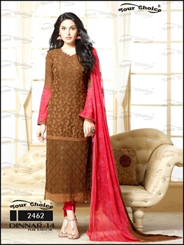 Picture of 2462Brown And American Rose Designer Straight Suit