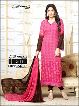 Picture of 2468Pink And Brown Designer Straight Suit