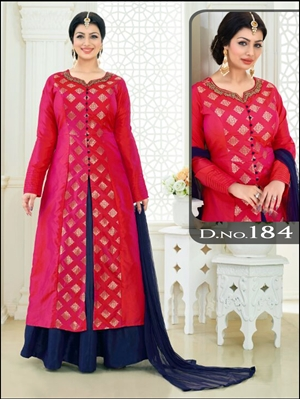 Picture of 184Electirc Crimson Designer Anarkali Suit