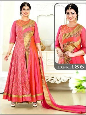 Picture of 186Salmon Pink Golden Designer Anarkali Suit