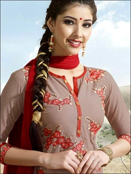Picture of 9761Gray Red Exclusive Designer Patiala Suit Collection
