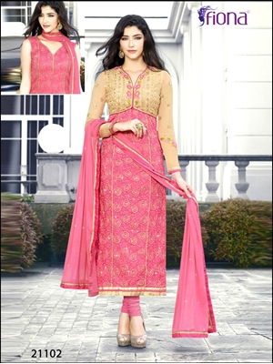 Picture of 21102Pink Designer Semistitched Straight Suit