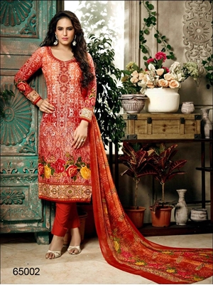 Picture of 65002Red Designer Unstitched Straight Suit