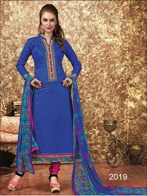 Picture of 2019Blue Designer Unstitched Straight Suit