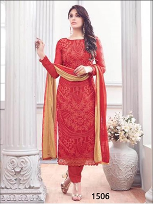Picture of 1506Red Designer Unstitched Straight Suit