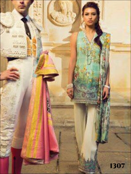Picture of 1307 Aqua Green Designer Pakistani Style Suit